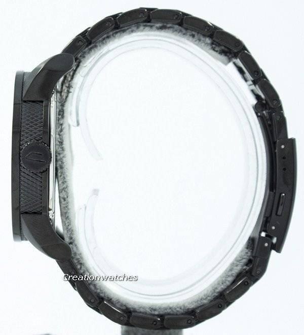 e2c292eb0aba5 Diesel recondicionado mostrador preto preto texturizado relógio WR100M aço  DZ1371 masculino