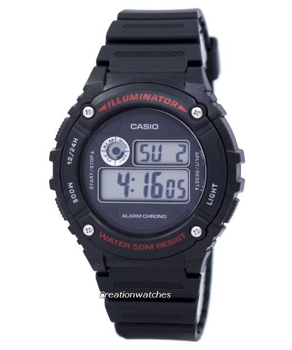 Casio Sports Illuminator Alarm Chrono Digital W 216H 1AV W216H 1AV Reloj para hombre