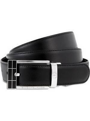 Cinto de couro masculino Montblanc Contemporary 101899 reversível marrom-preto