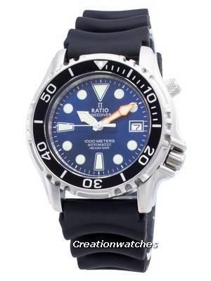 Relogio sem mergulhador Helium Safe 1000M Aço inoxidável automático 1066KE20-33VA-BLU Relógio de homem