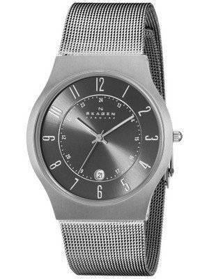 Skagen Gunmetal Grey Dial Titanium Case Mesh Bracelet 233XLTTM Men's Watch