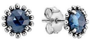 PANDORA Shining Midnight 290561NBC Crystal Blue Stud Earrings