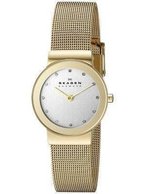 Skagen Freja Gold Tone Mesh Bracelet Crystallized 358SGGD Women's Watch