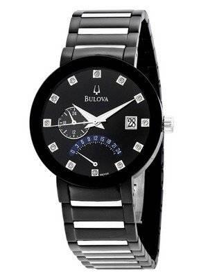 Bulova Diamond Accented Black Dial Bracelet 98D109 Mens Watch