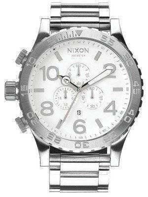 Nixon High Polish White Dial Chronograph 300M A083-488-00 Men\'s Watch