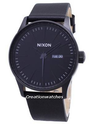 Nixon Quartz Sentry Black Leather A105-001-00 Men's Watch