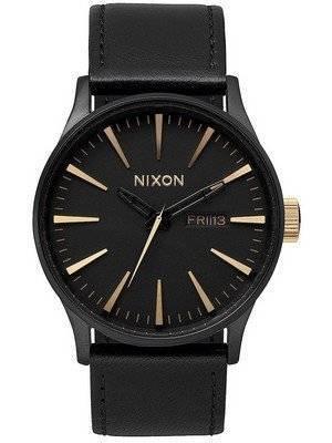Nixon Quartz Sentry Black Leather A105-1041-00 Men's Watch
