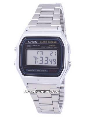 Casio Digital Stainless Steel Daily Alarm A158WA-1DF A158WA-1 Men\'s Watch