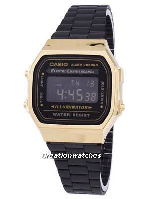 Casio Vintage Chronograph Alarm Digital A168WEGB-1B Unisex Watch