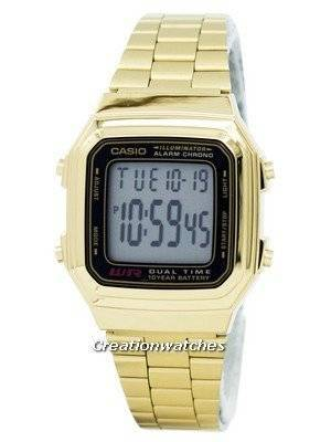 Casio Digital Stainless Steel Alarm Chrono Dual Time A178WGA-1ADF A178WGA-1A Men's Watch