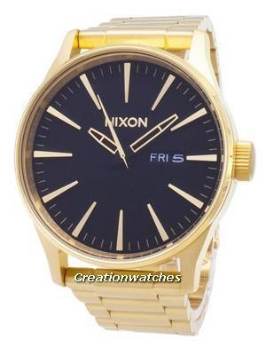Nixon Sentry SS Gold Tone Black Dial A356-510-00 Men\'s Watch