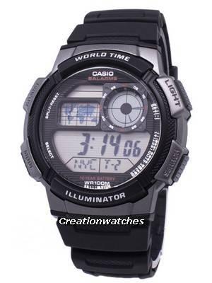 Casio Youth Series Digital World Time AE-1000W-1BVDF AE-1000W-1BV Men's Watch
