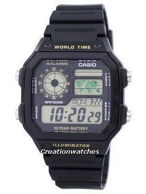 Casio Youth Series Digital World Time AE-1200WH-1BVDF AE-1200WH-1BV Men's Watch
