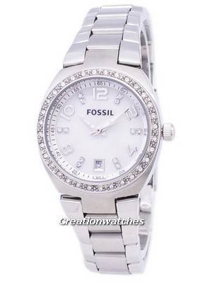 Fossil Flash Swarovski Crystal Mother of Pearl Dial AM4141 Women\'s Watch