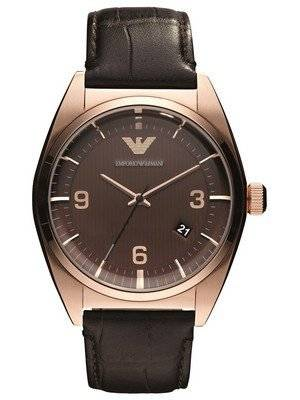 Emporio Armani Classic Brown Dial Leather Band AR0367 Men\'s Watch