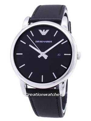 Emporio Armani Classic Black Dial Black Leather AR1692 Men's Watch