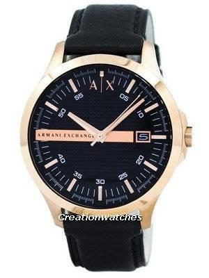 Armani Exchange Rose Gold Black Dial Leather Strap AX2129 Men's Watch