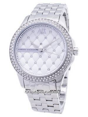 Armani Exchange Lady Hampton Silver Crystals Quilted Dial AX5215 Women's Watch