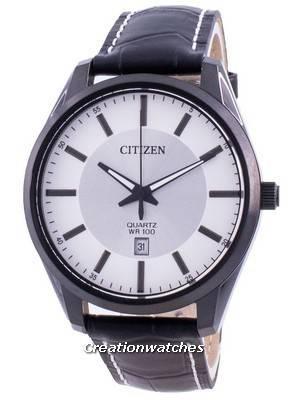 Citizen Silver Dial Leather Strap Quartz BI1035-09A 100M Men\'s Watch