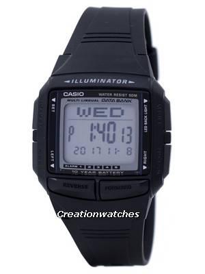 Casio Iluminador Multi-lingual Databank Dual Time Digital DB361AV DB36-1AV Men Watch