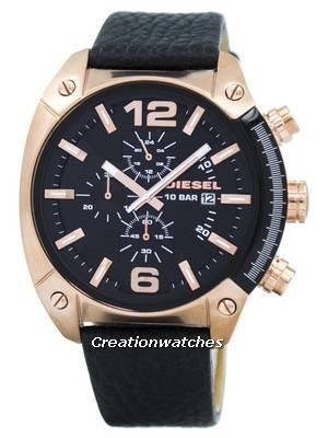 Diesel Overflow Chronograph Black Dial Black Leather DZ4297 Men's Watch