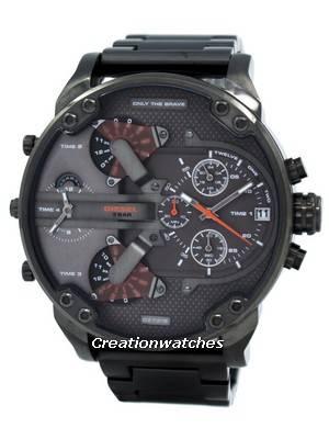 Diesel Daddies Gunmetal Ion-Plated Chronograph Four Time Zone Dial DZ7315 Men's Watch