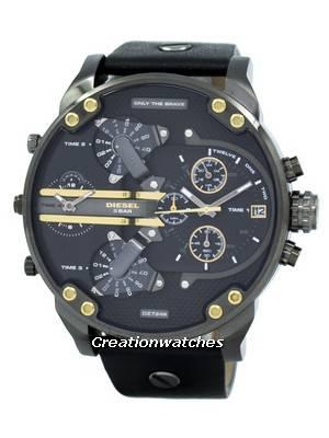 Diesel Mr. Daddy 2.0 Black Dial Black Leather DZ7348 Men's Watch