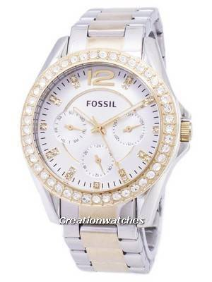 Fossil Riley Multifunction Silver And Gold Tone Crystal Dial ES3204 Women's Watch
