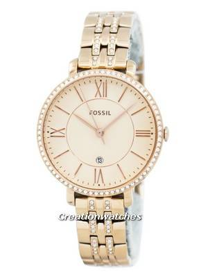 Fossil Jacqueline Quartz Rose Gold Crystals Accents ES3546 Women's Watch