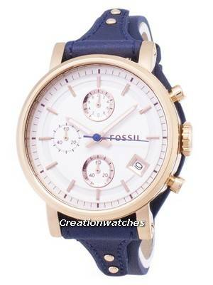 Fossil Original Boyfriend Quartz Chronograph Blue Leather Strap ES3838 Women's Watch