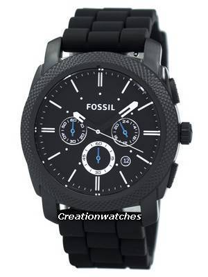 Fossil Machine Chronograph Black Silicone Strap FS4487 Men's Watch