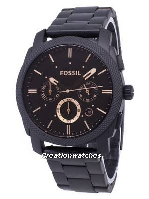 Fossil Machine Mid-Size Chronograph Black IP Stainless Steel FS4682 Men\'s Watch
