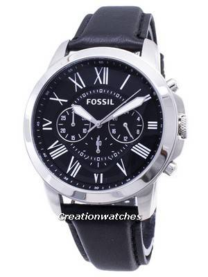 Fossil Grant Chronograph Black Leather Strap FS4812 Men's Watch