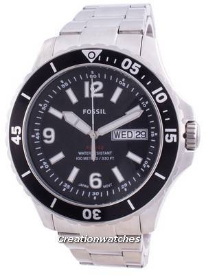 Fossil FB-02 Black Dial Stainless Steel Quartz FS5687 100M Men\'s Watch