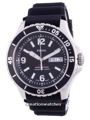 Fossil FB-02 Black Dial Silicone Strap Quartz FS5689 100M Men\'s Watch