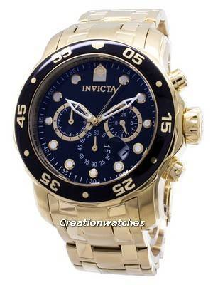 Invicta Pro-Diver Chronograph Gold Tone 200M 0072 Men's Watch