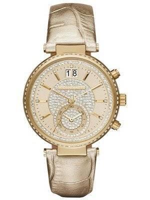 Michael Kors Sawyer Champagne Crystal Pave Dial MK2444 Women's Watch