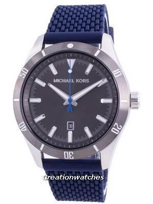 Michael Kors Layton Grey Dial Silicone Strap Quartz MK8818 Men\'s Watch