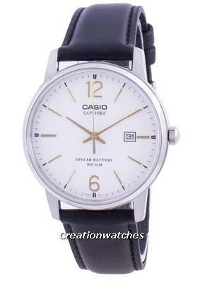 Casio White Dial Leather Strap Quartz MTS-110L-7AV MTS110L-7AV Men\'s Watch