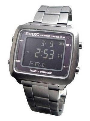 Seiko Spirit Solar Radio Wave Control World Time SBFG003 Mens Watch