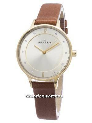 Skagen Anita Gold Dial Brown Leather Crystallized SKW2147 Women's Watch