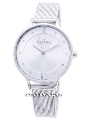 Skagen Anita Silver Dial Swarovski Crystal Mesh Bracelet SKW2149 Women's Watch
