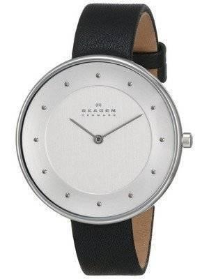 Skagen Gitte White Dial Black Leather SKW2232 Women's Watch