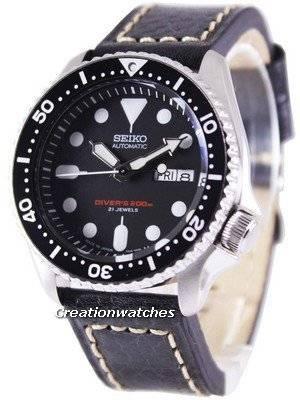 Seiko Automatic Diver's Ratio Black Leather SKX007J1-LS2 200M Men's Watch