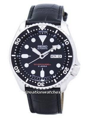 Seiko Automatic Diver Relação de Couro Preto SKX007J1-LS6 200M Men Watch