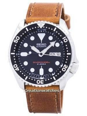 Relogio do Seiko Automatic Diver Relogio de Couro Marrom SKX007J1-LS9 200M Men