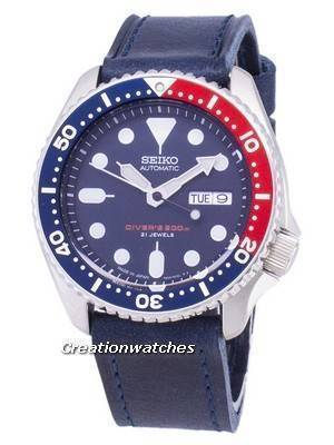 Seiko Automatic SKX009J1-LS13 Diver's 200M Dark Blue Leather Strap Men's Watch