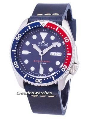 Seiko Automatic SKX009J1-LS15 Diver's 200M Dark Blue Leather Strap Men's Watch