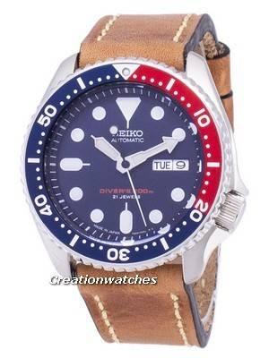 Seiko Automático SKX009J1-LS17 Mergulhador 200 M Japão Fez Relógio de Couro Marrom de Couro Marrom