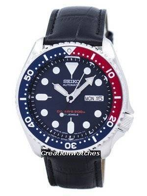 Seiko Automatic Diver\'s Ratio Black Leather SKX009J1-LS6 200M Men\'s Watch